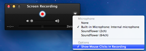 These are the options in QuickTime Player for Screen Recordings